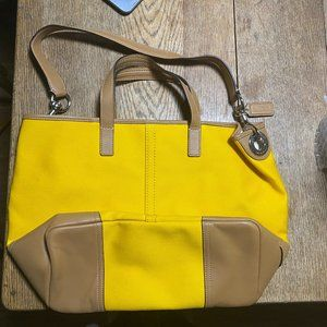 Coach Bucket Bag Canvas Leather Yellow Gold